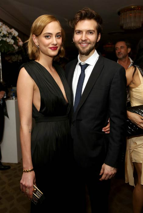 Nora Arnezeder and Guy Burnet at the Amazon's Golden Globe Awards Celebration in January 2016