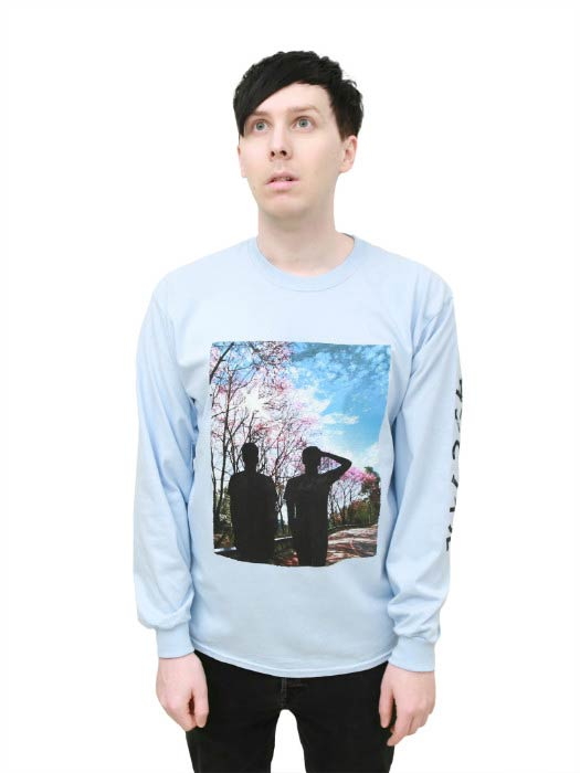 Phil Lester poses for a modeling photoshoot for promotion of his merchandise