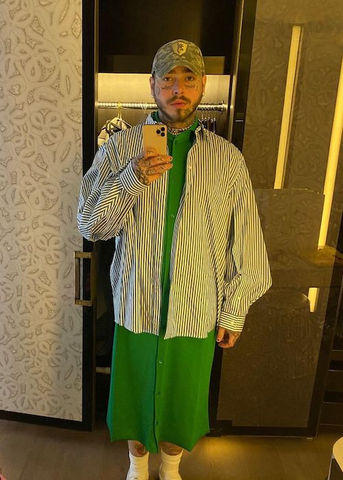 Post Malone in a mirror selfie in August 2020