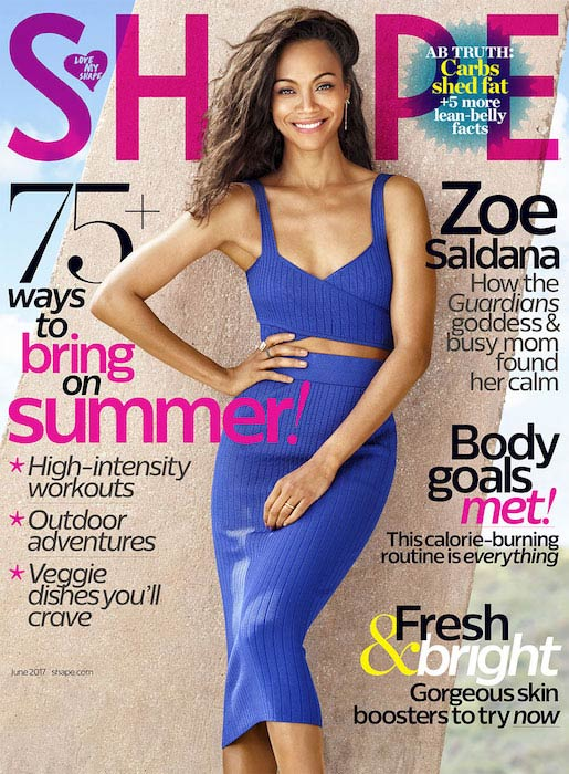 Zoe Saldana for Shape June 2017 Cover