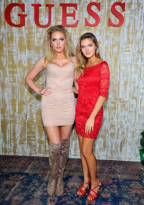 Brighton Sharbino with sister Saxon Sharbino at the GUESS Glitz and Glam Holiday event in Los Angeles in December 2016