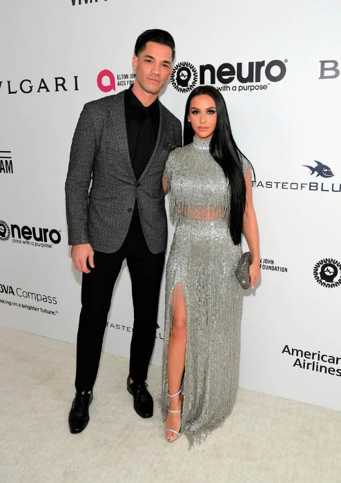 Carli Bybel and Brett Cap at the 25th Annual Elton John AIDS Foundation's Academy Awards Viewing Party in February 2017