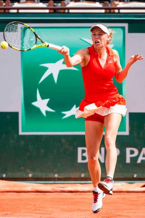 Caroline Wozniacki during 2017 French Open at Roland Garros