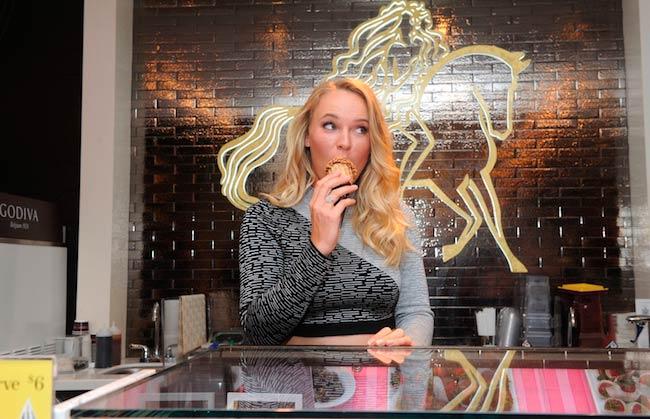 Caroline Wozniacki indulging in ice-cream