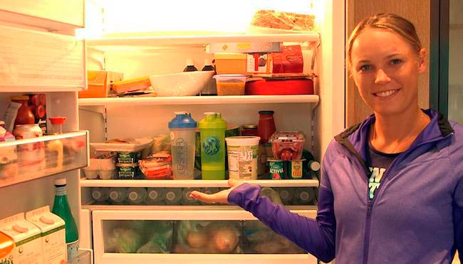 Caroline Wozniacki showing her fridge