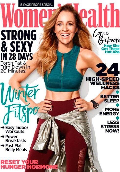 Carrie Bickmore on Women's Health August 2017 cover