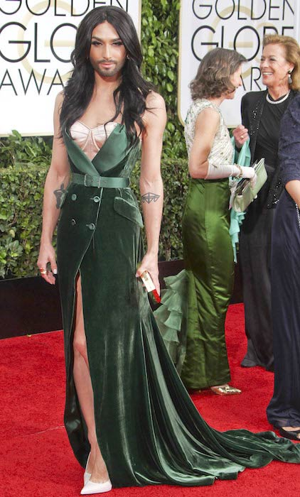 Conchita Wurst at the 2015 Golden Globe Awards in Beverly Hills, California