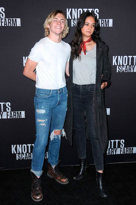 Courtney Eaton with boyfriend Ross Lynch at Knott's Scary Farm black carpet event in California in September 2016