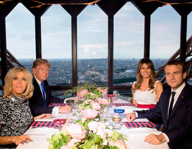 Donald Trump and Emmanuel Macron in an Eiffel Tower Restaurant