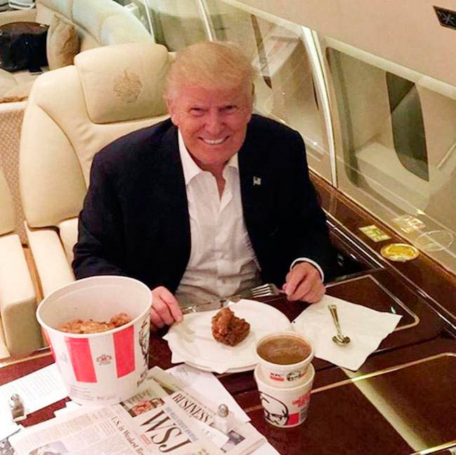 Donald Trump eating KFC's Chicken