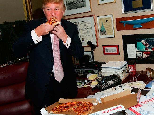 Donald Trump having a Domino's Pizza