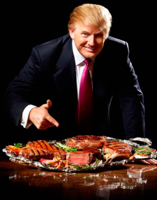 Donald Trump with his favorite steaks