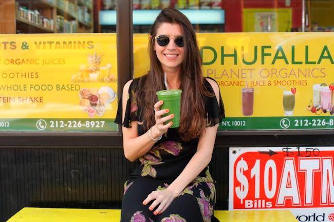 Florencia Galarza while drinking green smoothie
