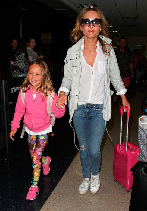 Giada De Laurentiis and daughter Jade Thompson on a family outing at LAX on August 17, 2016