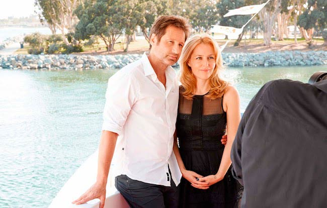 Gillian Anderson with The X-Files co-star, David Duchovny for TV Guide photoshoot in California in July 2013