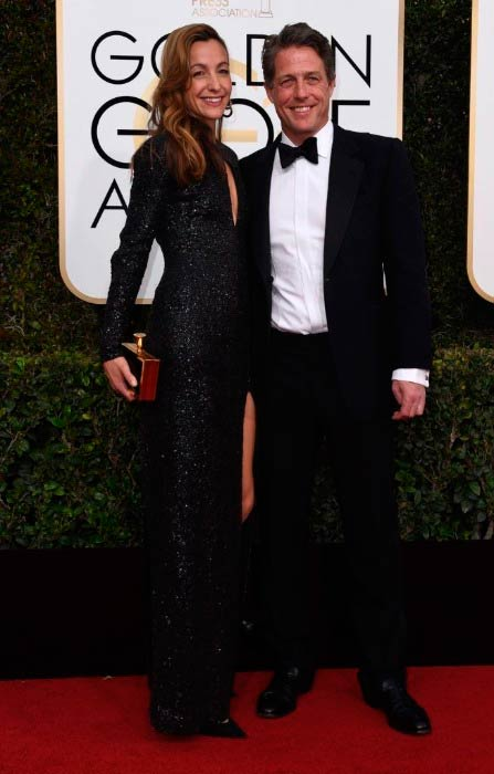 Hugh Grant and Anna Eberstein at the 74th Annual Golden Globe Awards in January 2017 in Beverly Hills