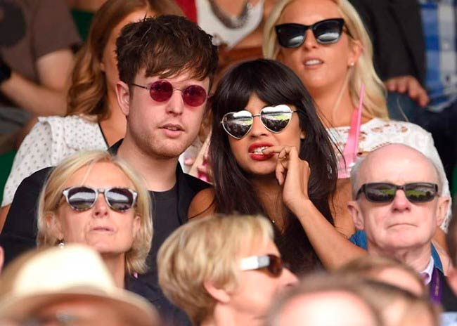James Blake and Jameela Jamil at the Wimbledon Tennis Tournament in June 2015