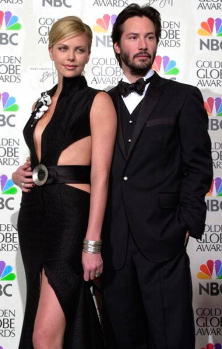 Keanu Reeves and Charlize Theron at the 58th Annual Golden Globe Awards in January 2001