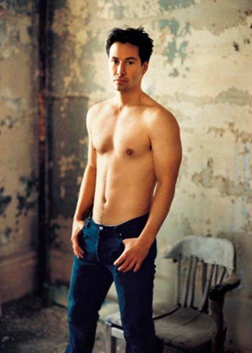 Keanu Reeves shirtless for a modeling photoshoot