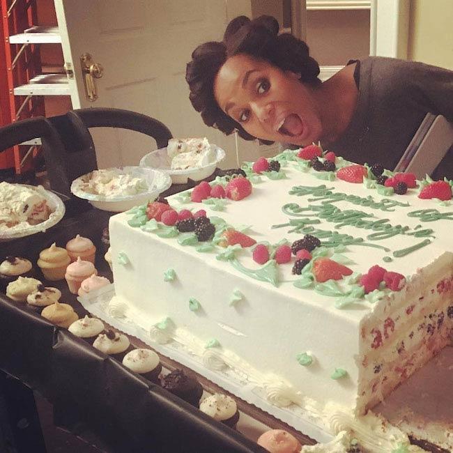 Kerry Washington with a birthday cake
