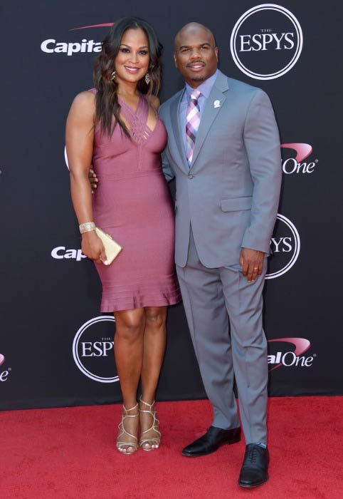 Laila Ali and Curtis Conway at the Excellence in Sports Performance Yearly (ESPY) Awards in July 2017