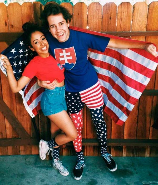 Liza Koshy and David Dobrik in a picture posted on social media to celebrate 4th of July in 2016