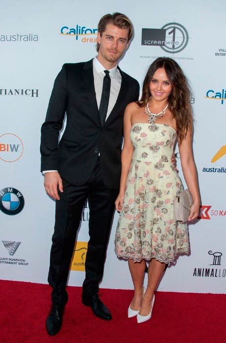 Luke Mitchell and Rebecca Breeds at the Australians in Film's Heath Ledger Scholarship Dinner in July 2014 in Los Angeles