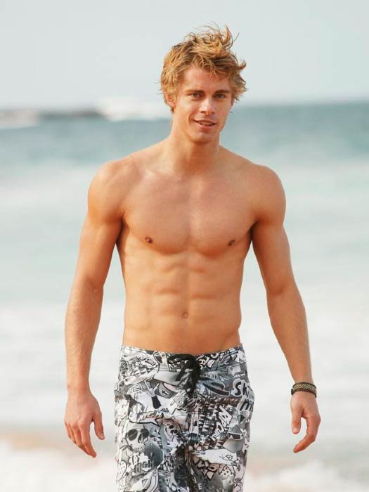 Luke Mitchell shirtless in an old modeling photoshoot