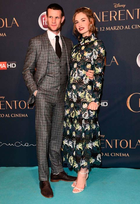 Matt Smith and Lily James at the premiere of film Cinderella in February 2015 in Milan