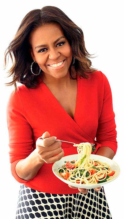 Michelle Obama with her meal