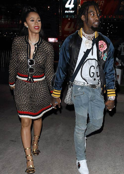 Offset and Cardi B arriving at a private event in 2017