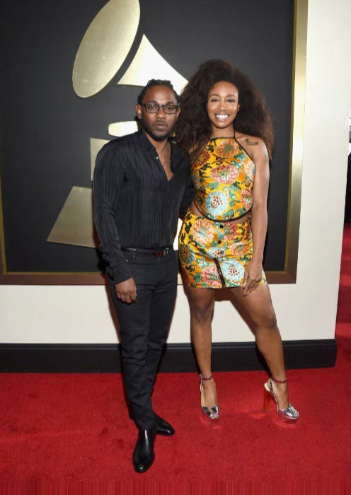 SZA with Kendrick Lamar on the red carpet for the 58th Grammy Awards in February 2016