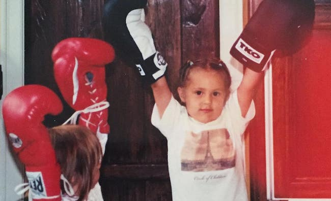 Sistine and Sophia Stallone learning to box in 1999