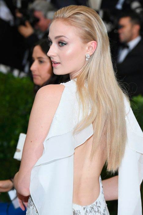 Sophie Turner wearing Louis Vuitton dress during MET Gala 2017