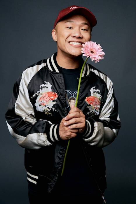 Timothy DeLaGhetto in a photoshoot during July-August 2016 in a Koi Fish Bomber jacket