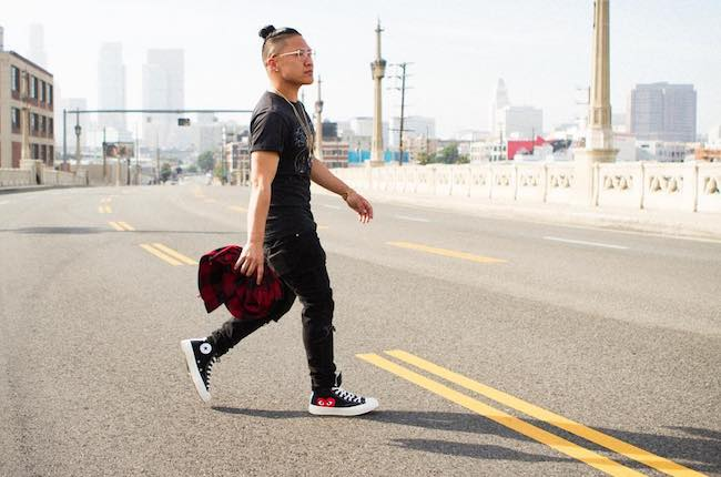 Timothy DeLaGhetto in a self-assigned photoshoot at Arts District, Los Angeles in March 2017