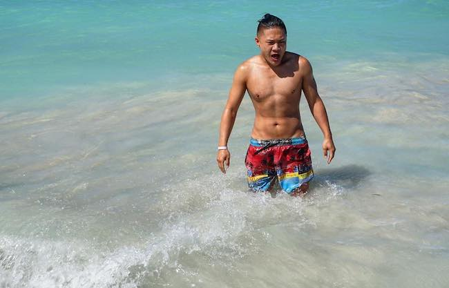 Timothy DeLaGhetto shirtless during a vacation in Mexico in January 2017