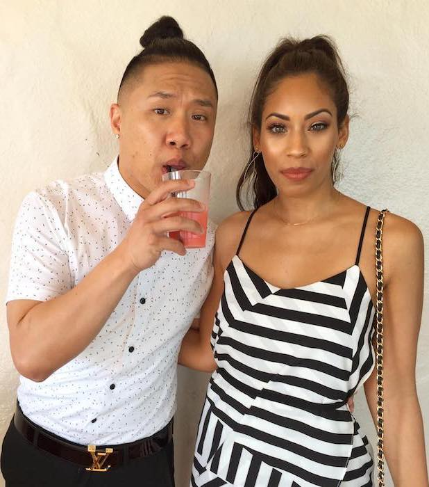 Timothy DeLaGhetto with girlfriend Chia Habte before leaving for a friend's wedding (Steve Greene and Nikki Limo) in May 2017
