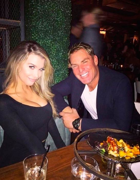 Emily Sears and Shane Warne at Chris Martin's birthday dinner in March 2017