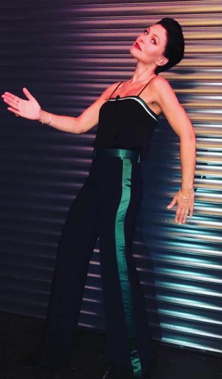 Emma Willis showing off her CBB dress in August 2017