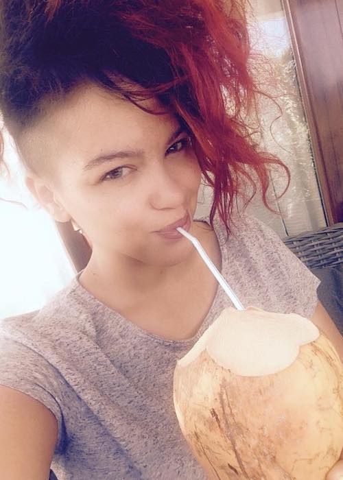 Eva Simons drinking coconut water as seen in January 2015