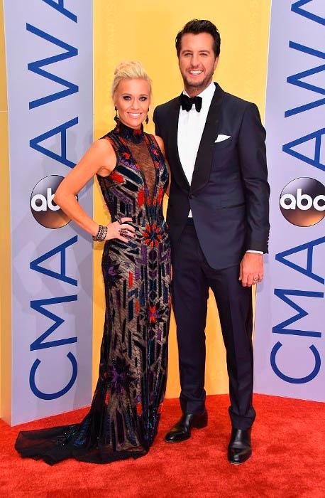 Luke Bryan and Caroline Boyer at the 50th annual CMA Awards in November 2016