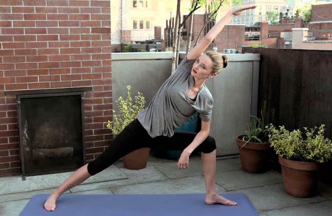 Miranda Kerr doing yoga