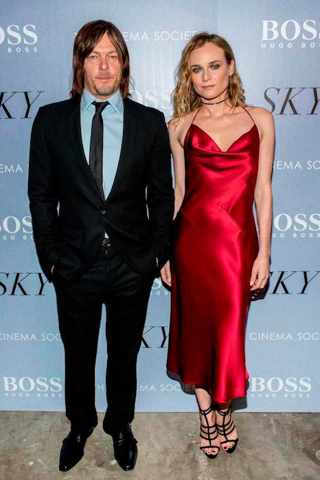 Norman Reedus with Diane Kruger at the premiere of Sky in New York City in April 2016