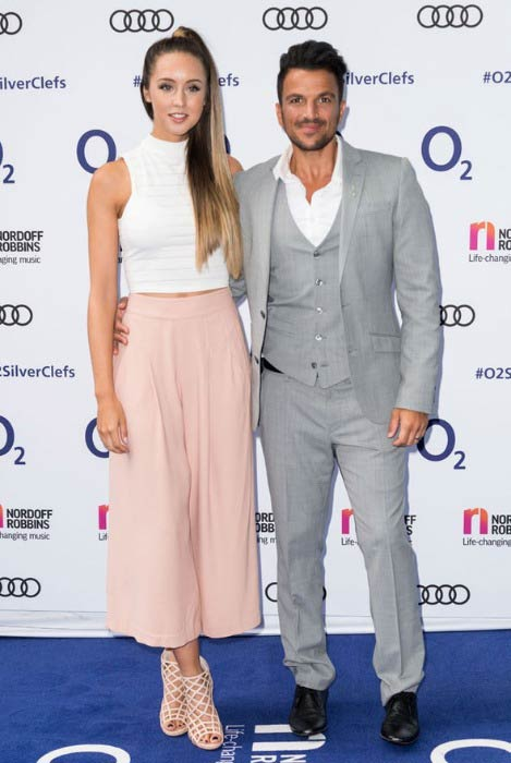 Peter Andre and Emily MacDonagh at the Nordoff Robbins O2 Silver Clef Awards in July 2016