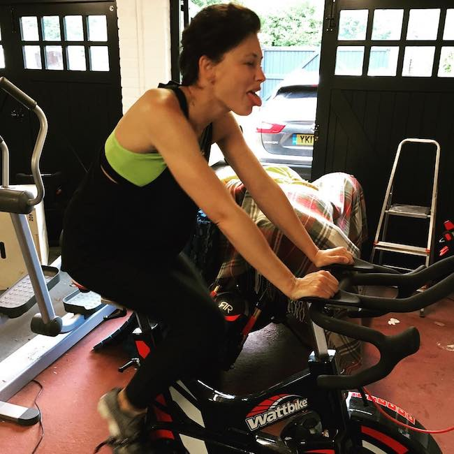 Rob Solly shared a picture of Emma Willis on the wattbike