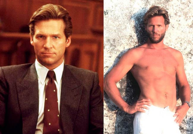 A young Jeff Bridges in Jagged Edge (1985) left and in Against All Odds (1984) on right