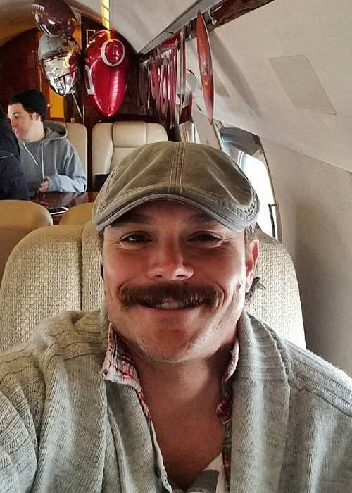 Clayne Crawford in a jet provided by Fox in February 2017