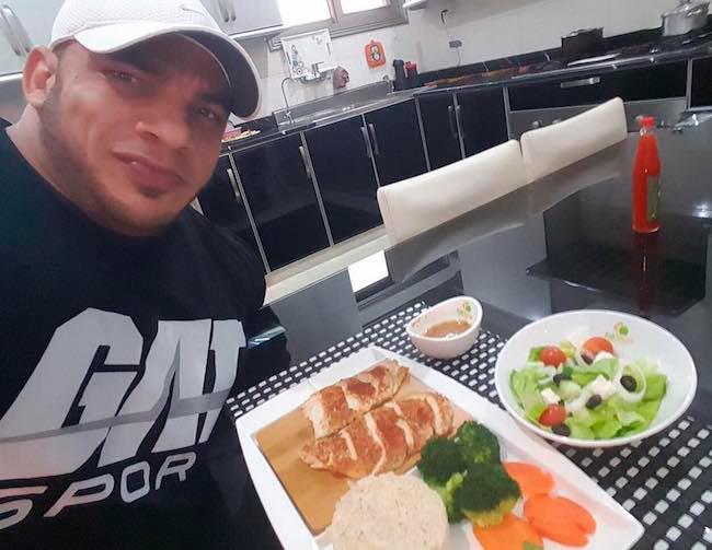 Mamdouh Elssbiay having food at Eat Smart as seen in July 2017