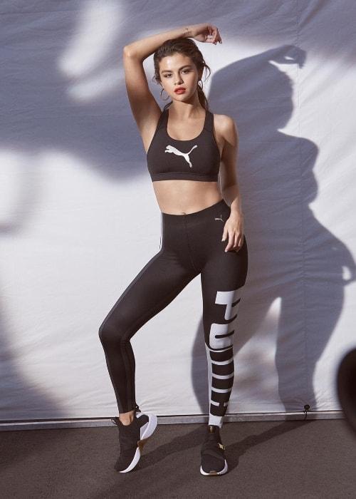 Selena Gomez posing in her Puma gym-wear in July 2018